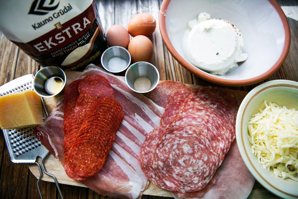 Velykinis mėsos pyragas - produktai