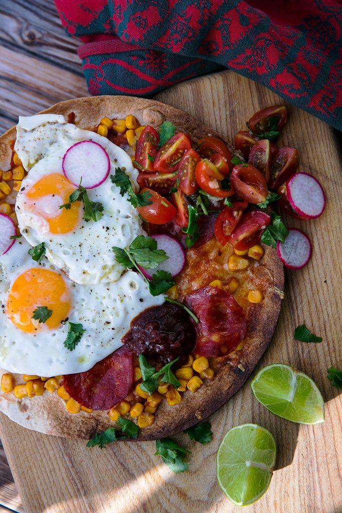 meksikietiški pusryčiai - huevos rancheros didelis